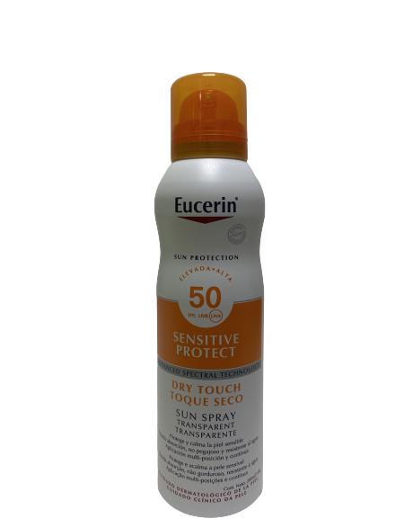 EUCERIN SUN PROTECTION 50 SPRAY TRANSPARENTE DRY TOUCH SENSITIVE PROTECT 1 ENVASE 200 ML